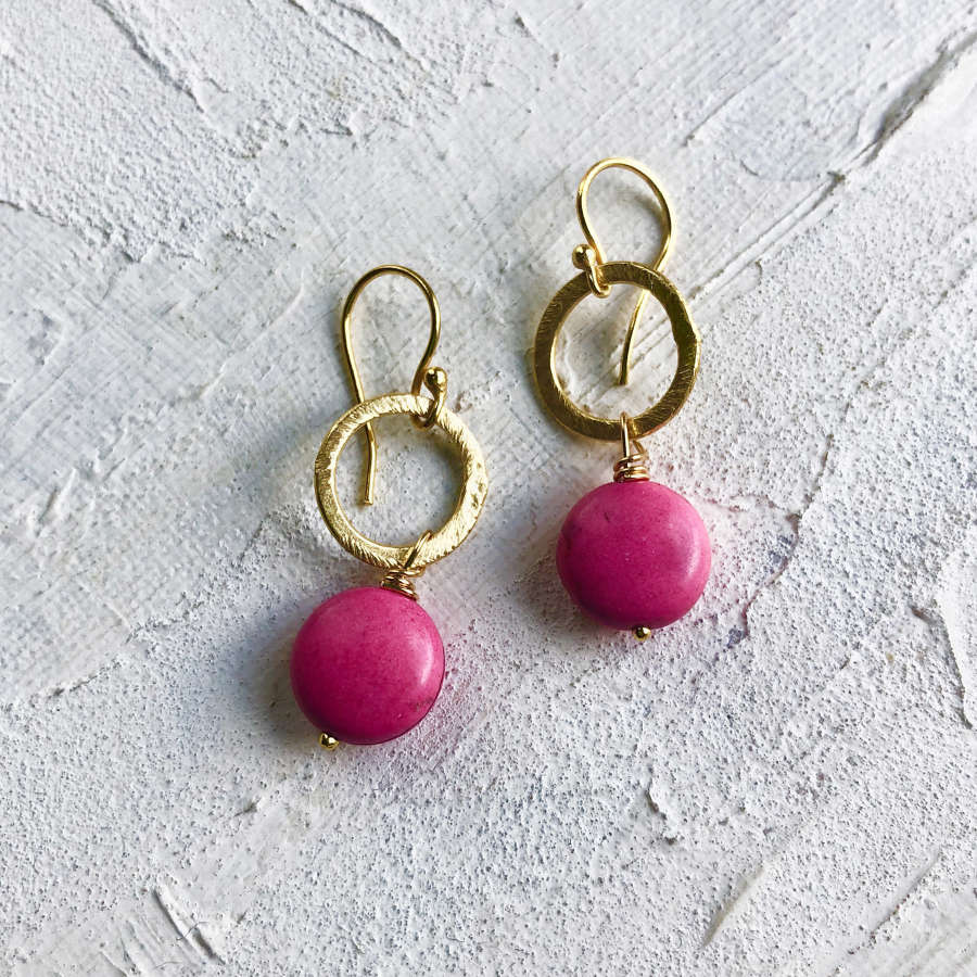 Lydia earrings candy pink gold