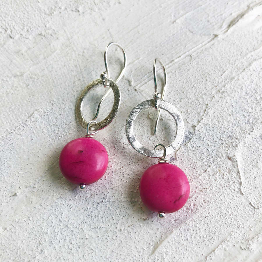 Lydia earrings candy pink silver