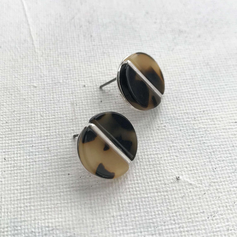 Disc earrings brown/silver