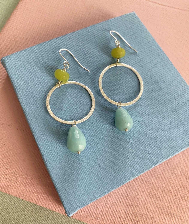 Lottie earrings duck egg/lime