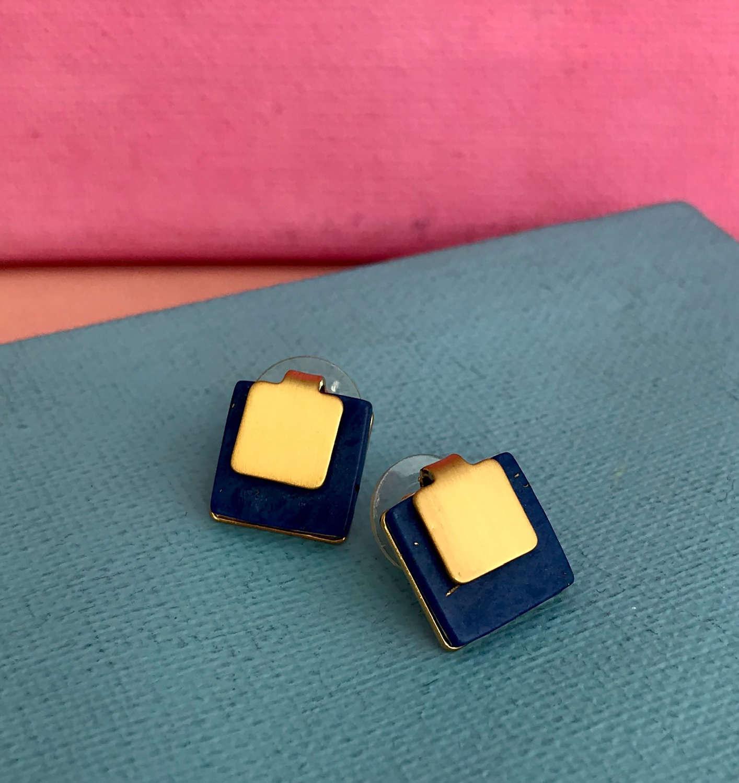 Blue square studs