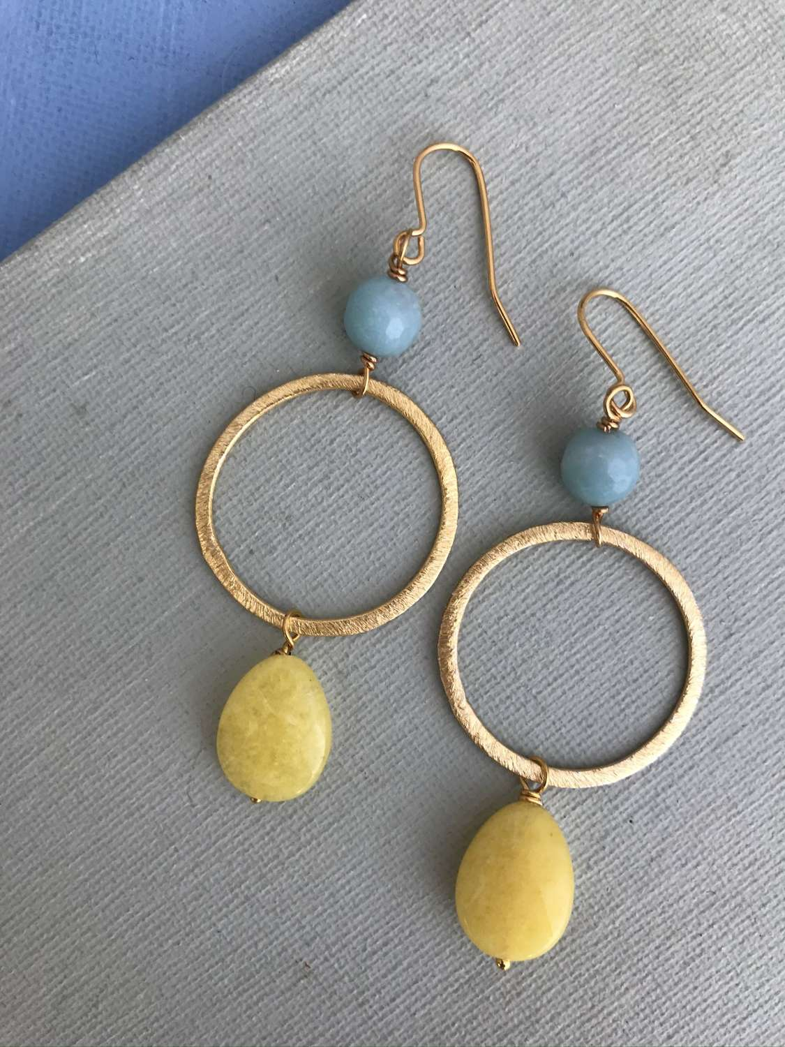 Lottie earrings duck egg/yellow
