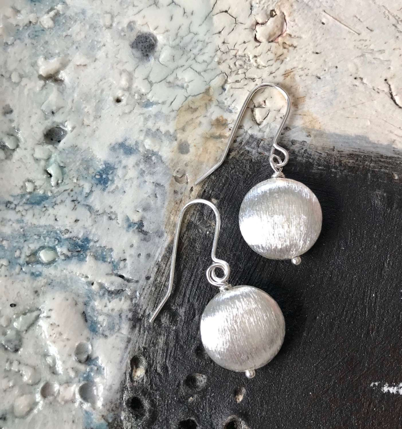 Large nugget earrings silver