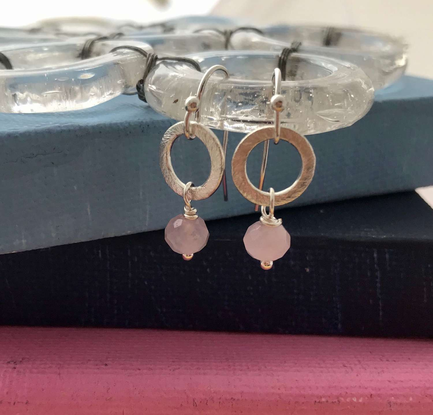 Lydia tiny earrings pink/silver
