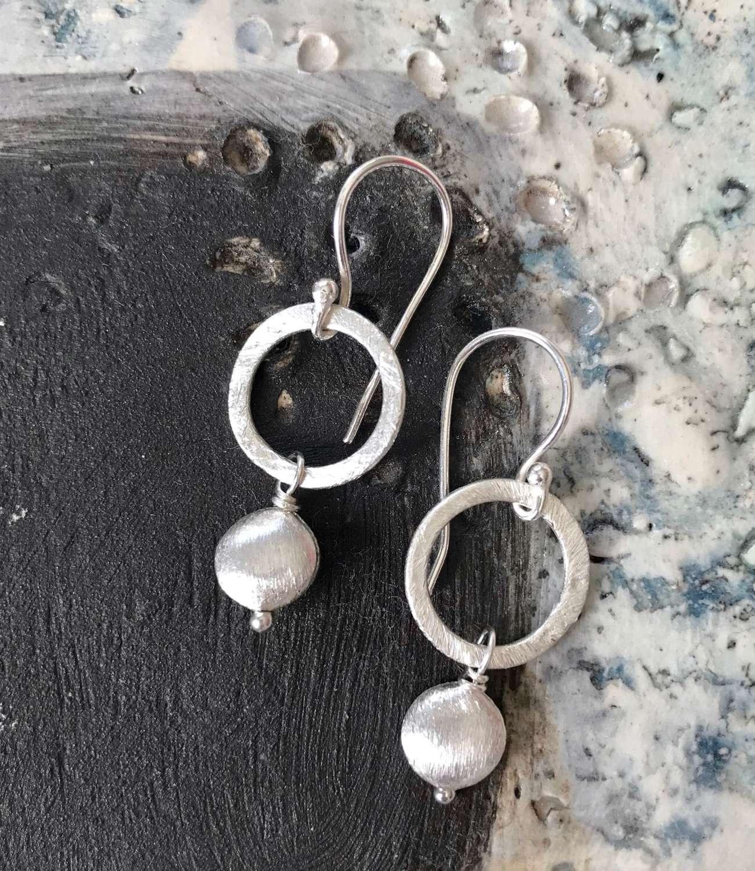Lydia silver nugget earrings
