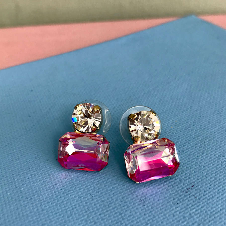 Pink art deco earrings