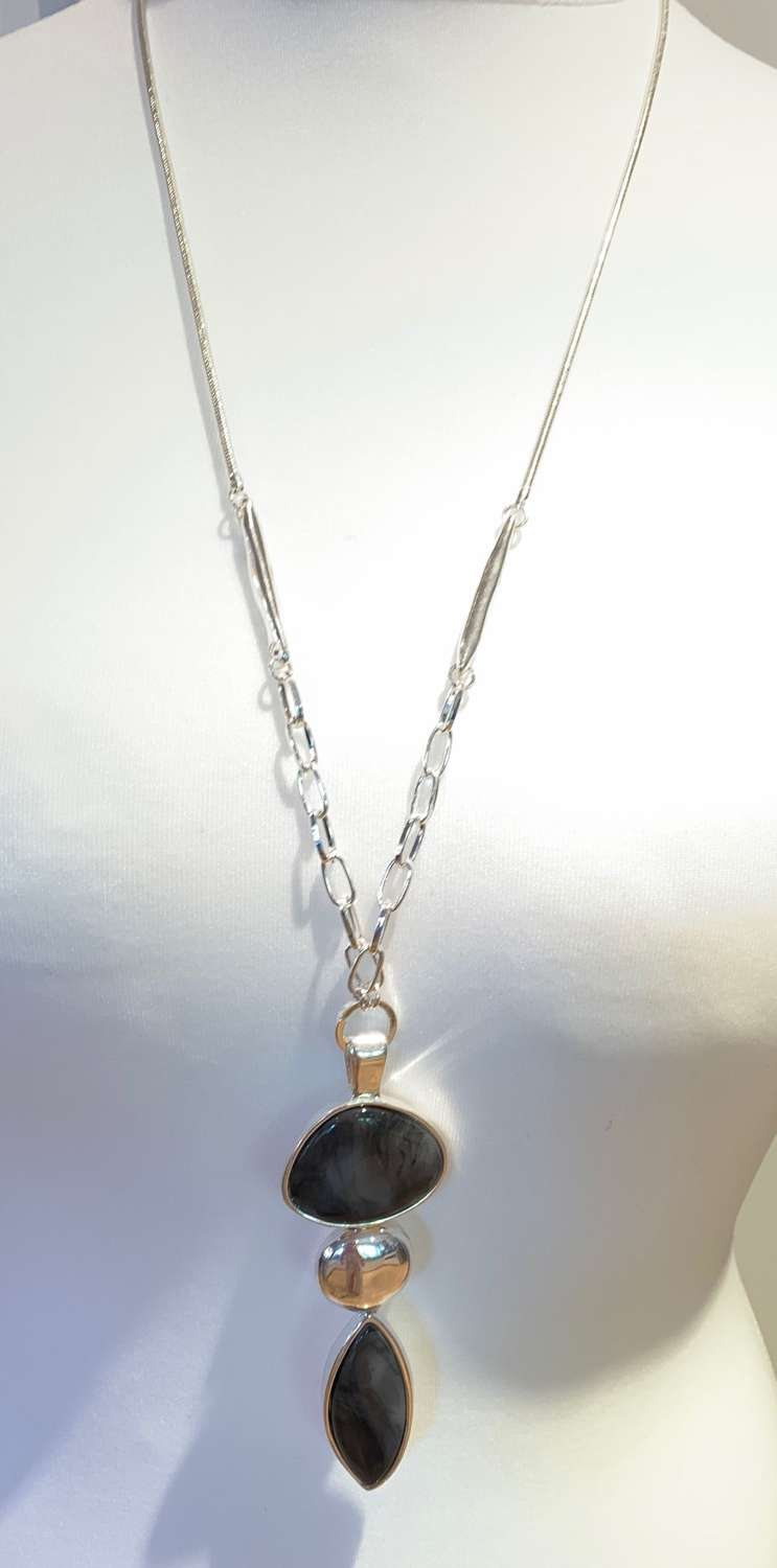 Charcoal marble necklace