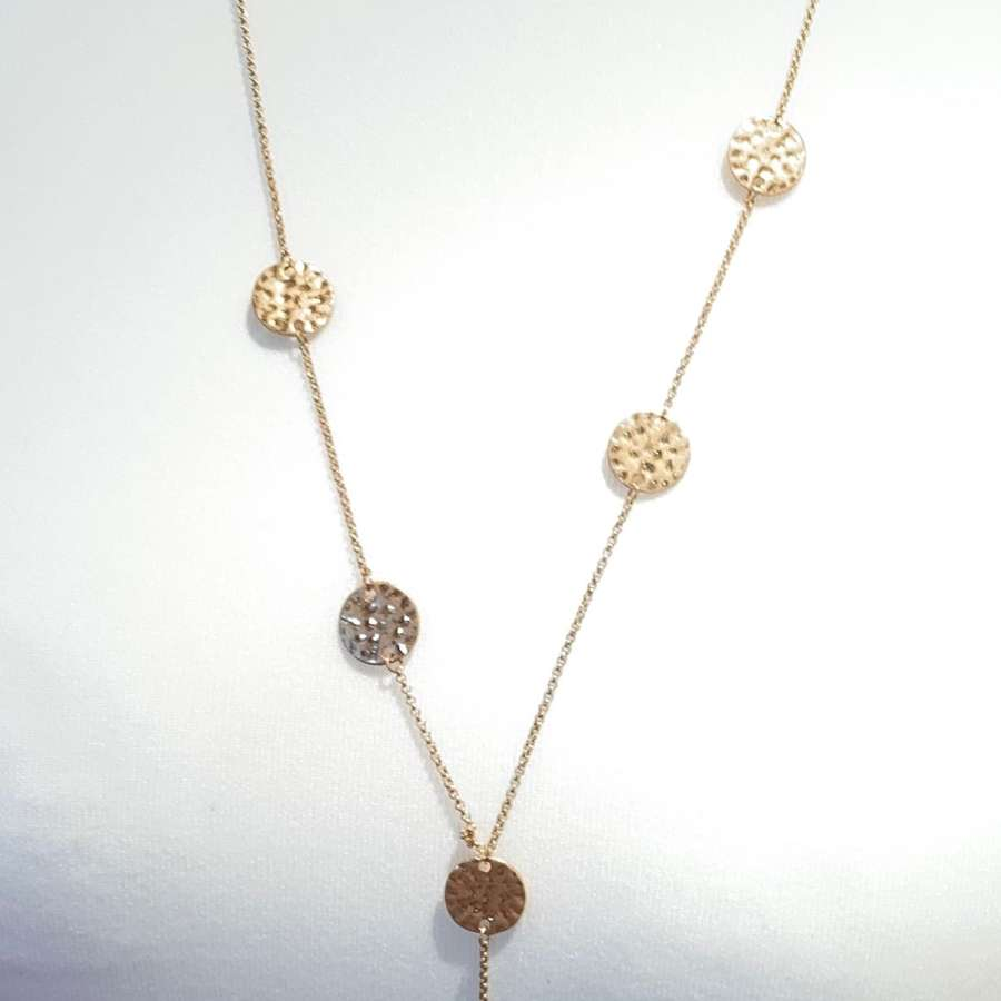 Hammered gold coin triple layer necklce