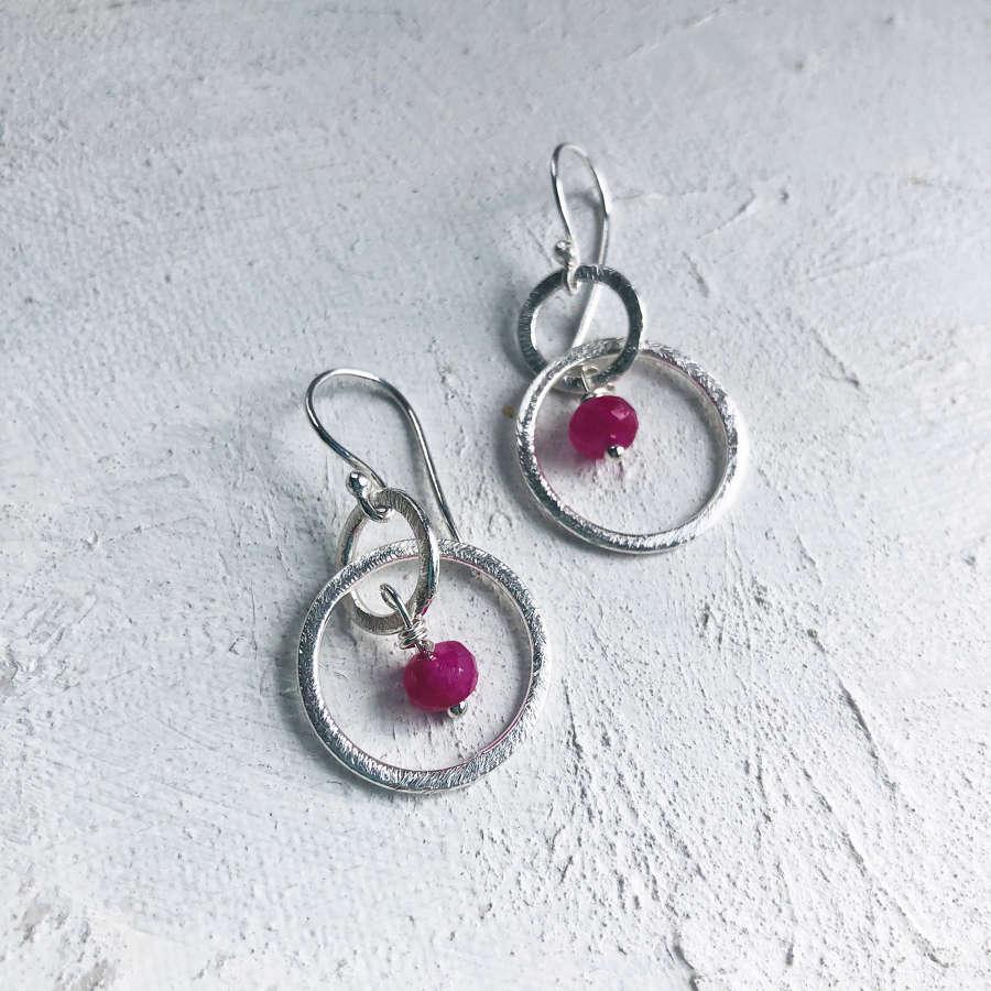 Lesley earrings pink/silver