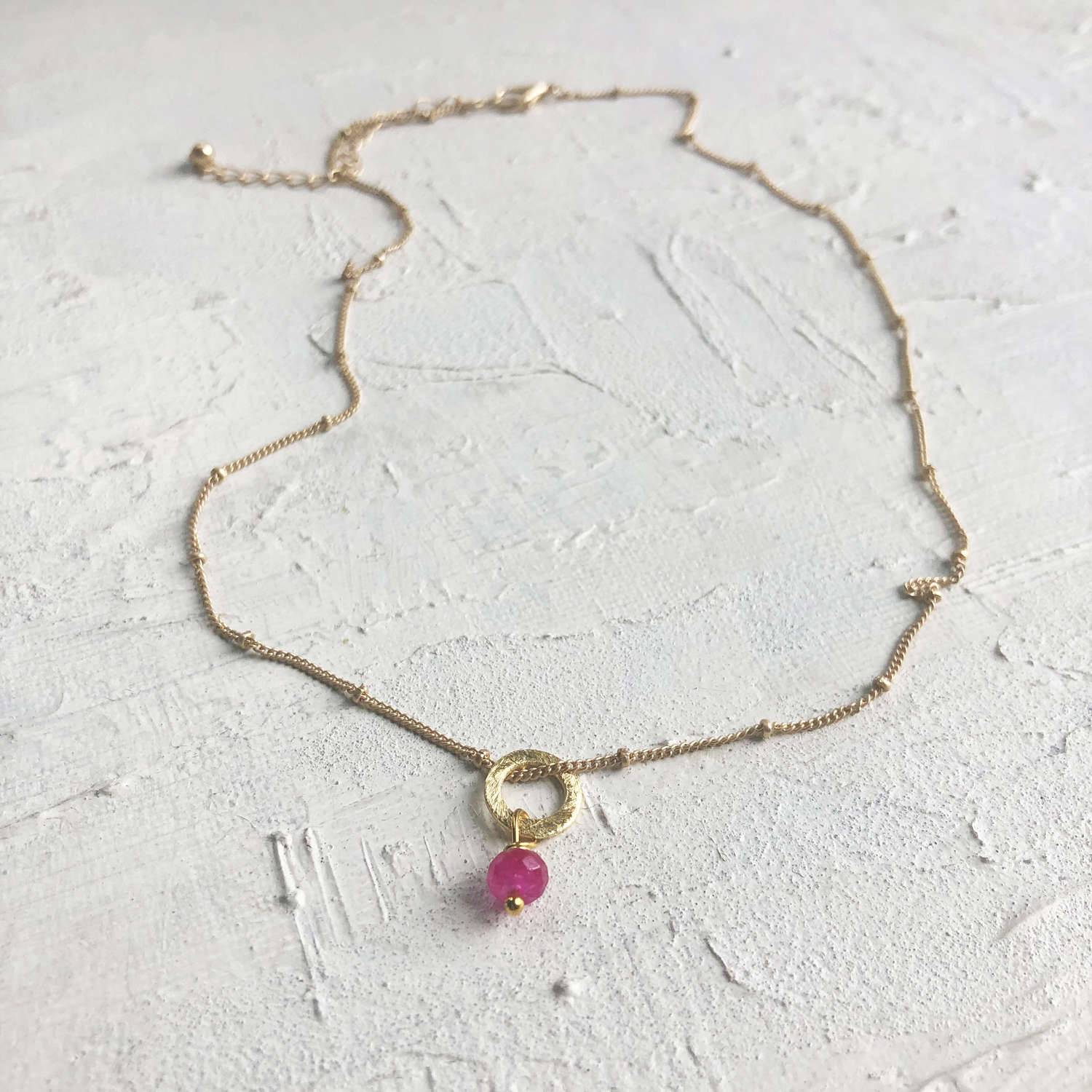 Lydia tiny necklace pink/gold