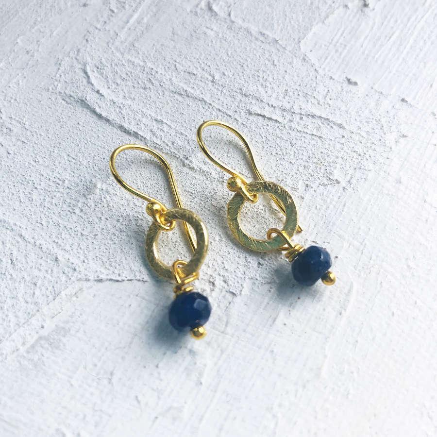 Lydia tiny earrings navy/gold