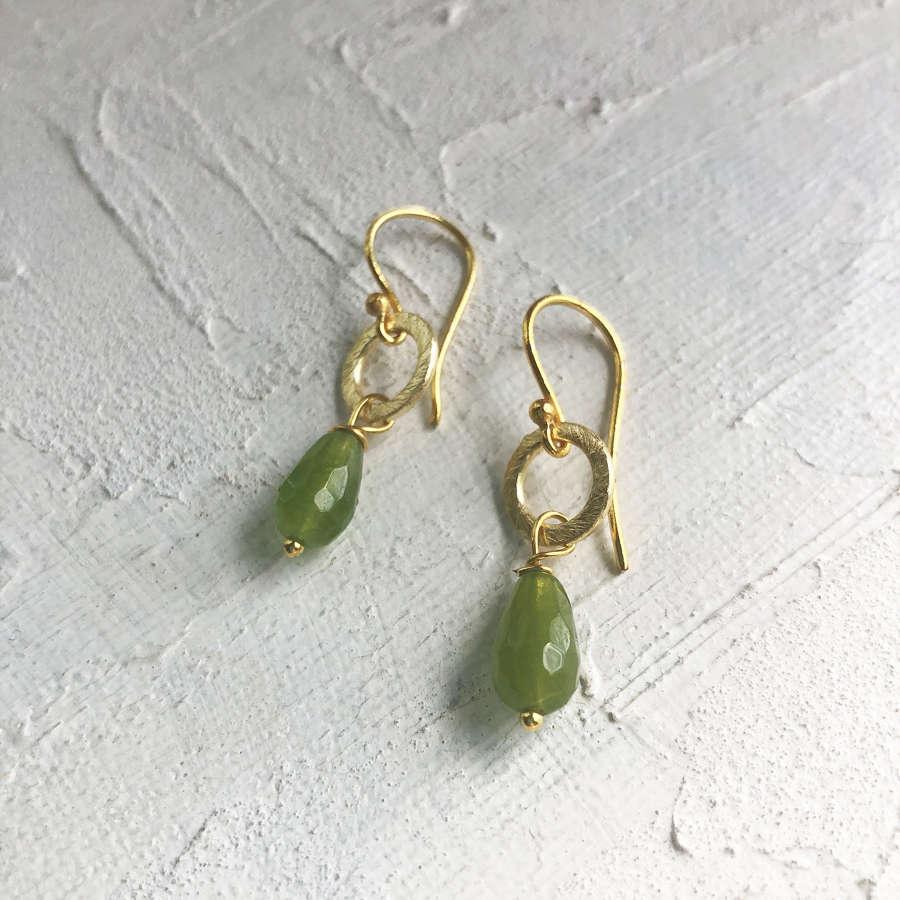 Lydia tiny earrings green/gold