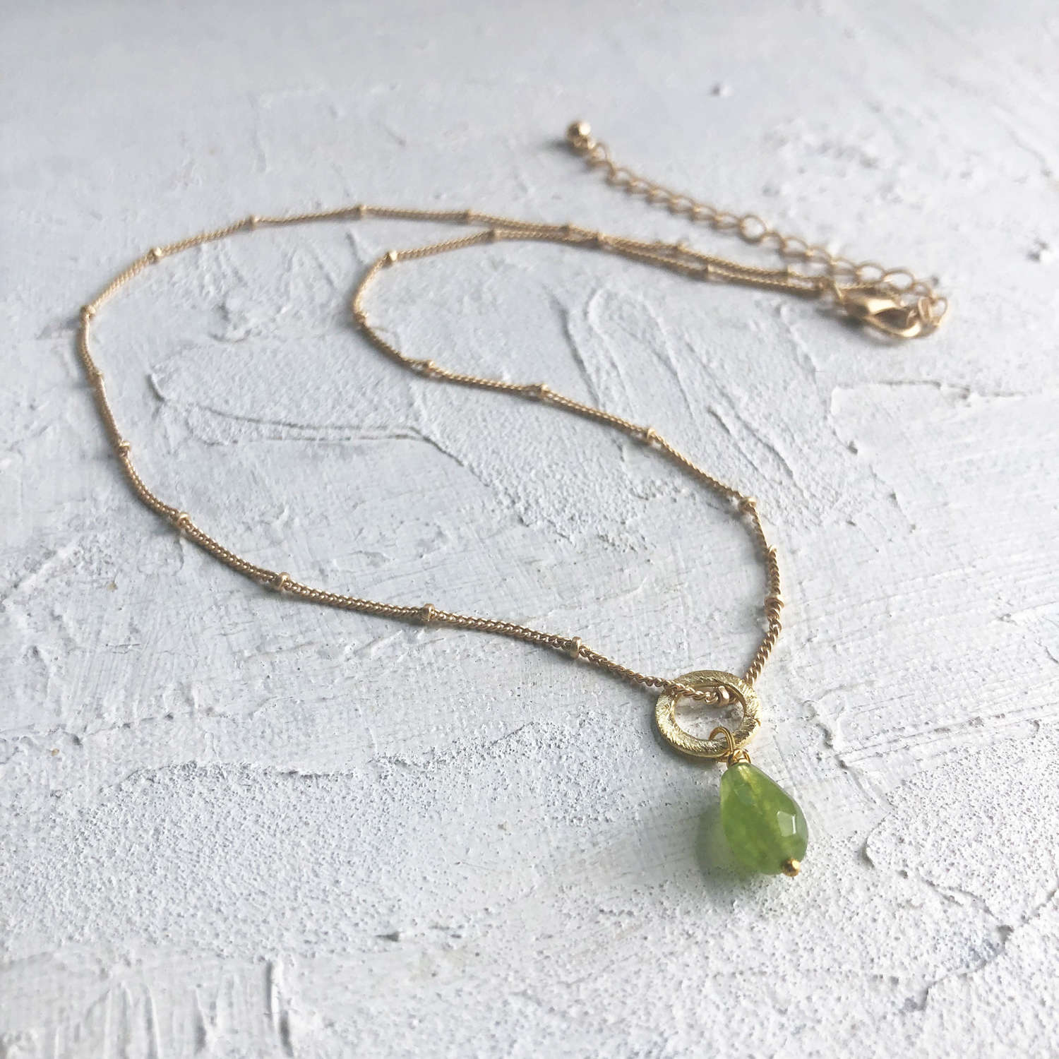 Lydia tiny necklace green/gold