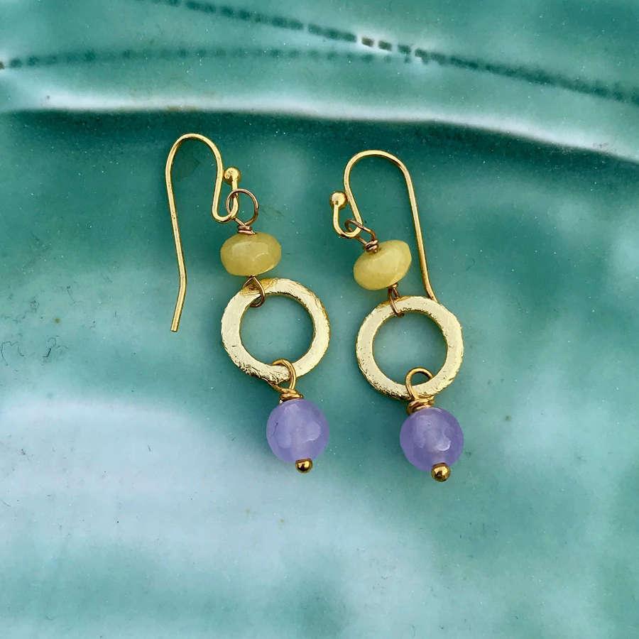 Lottie small earrings green/lilac/gold