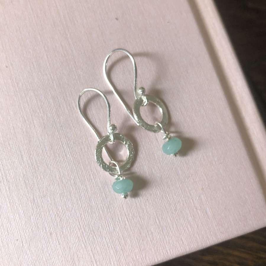Lydia tiny earrings duck egg/silver
