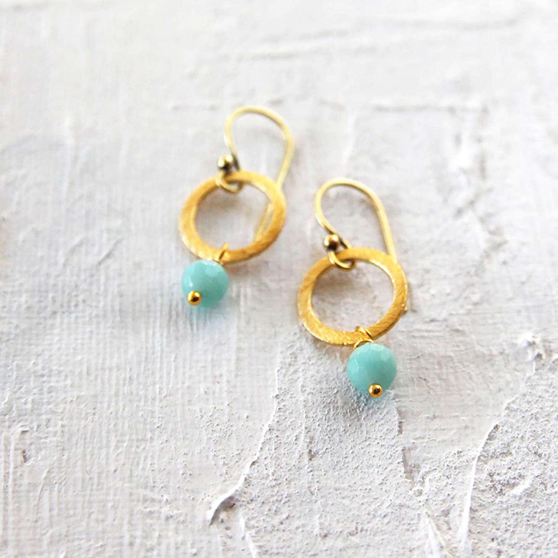 Lydia earrings-gold- duck egg