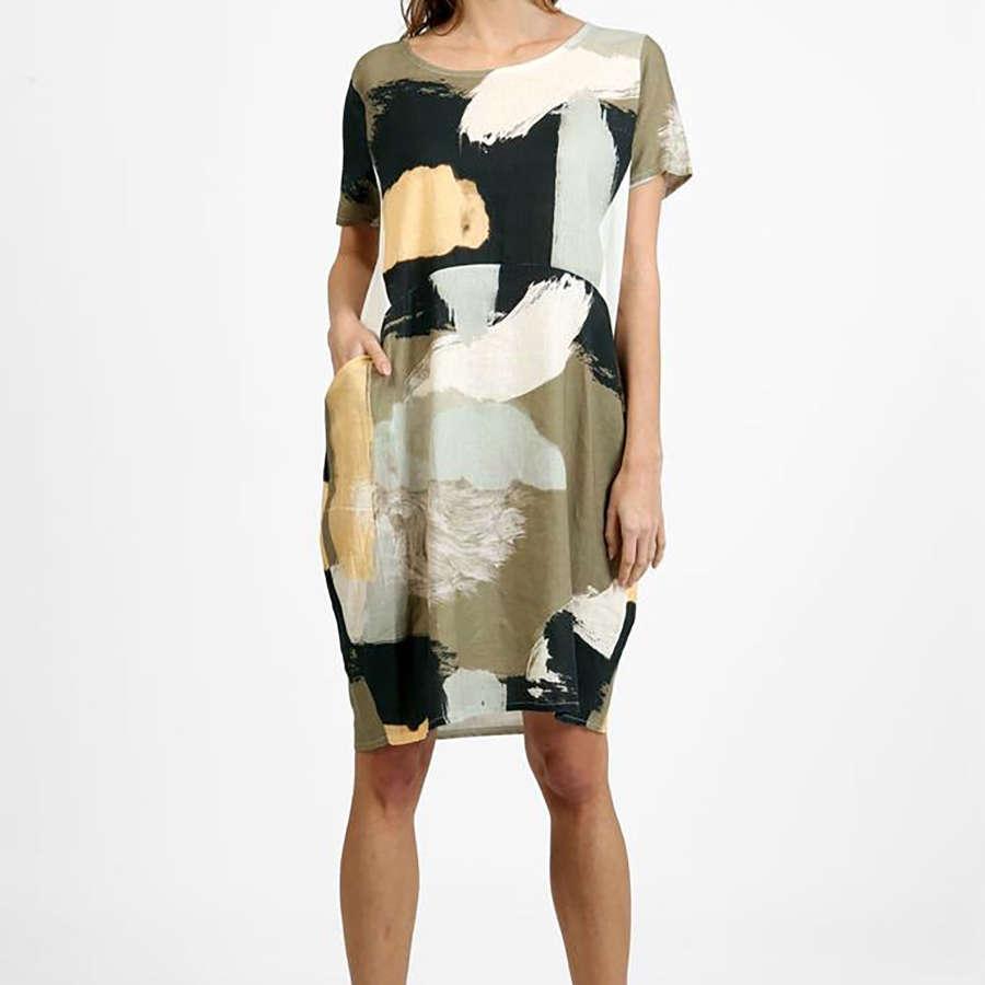 Khaki patterned linen dress