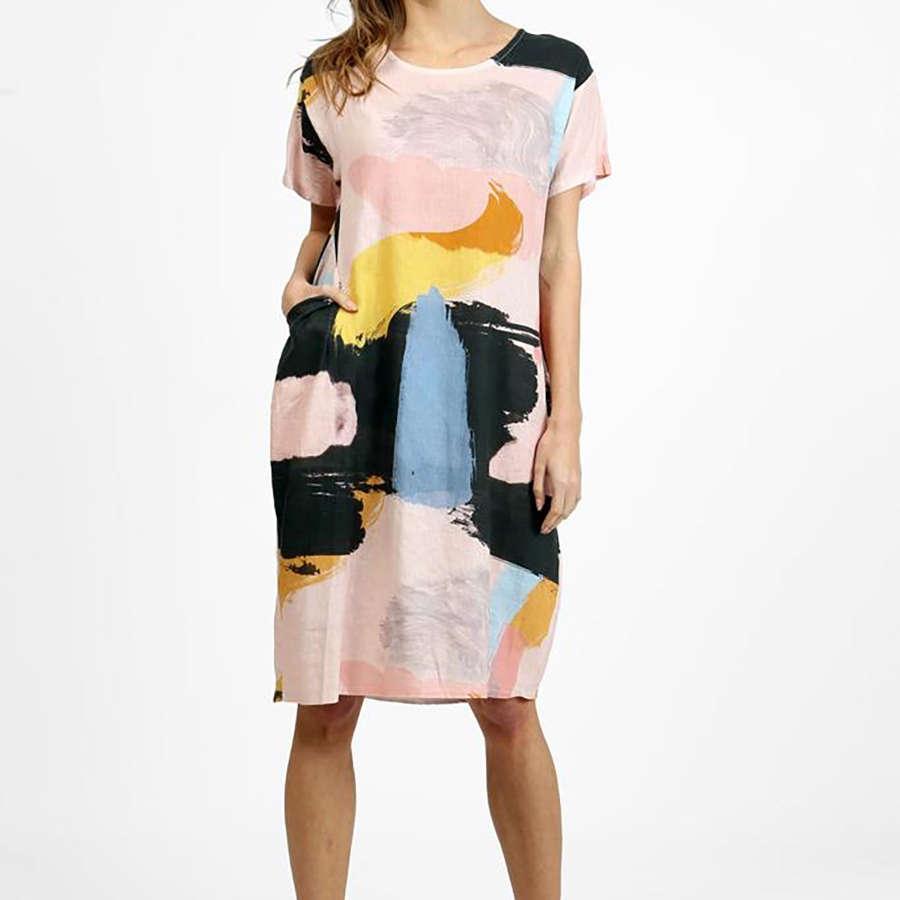 Pink patterned linen dress