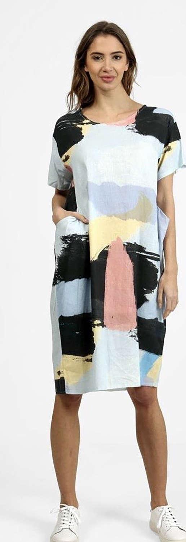 Blue Patterned Linen Dress