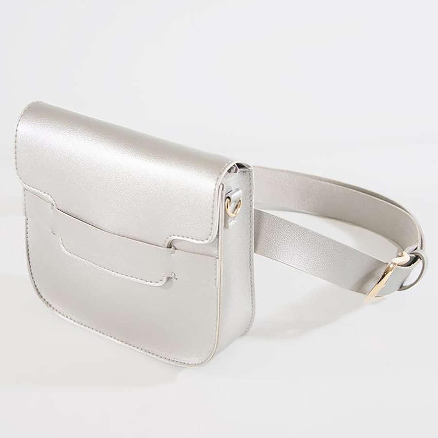 Silver multi-wear bumbag / cross-body bag.