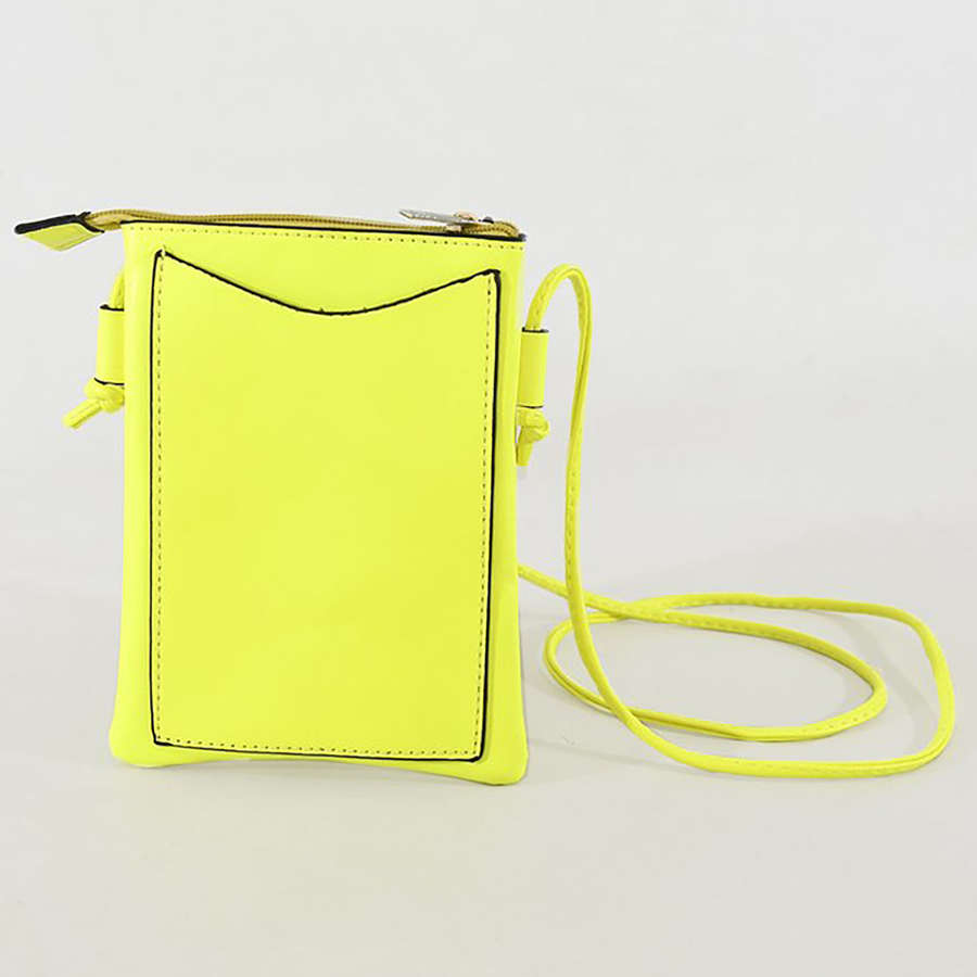 Neon yellow crossbody phone purse.