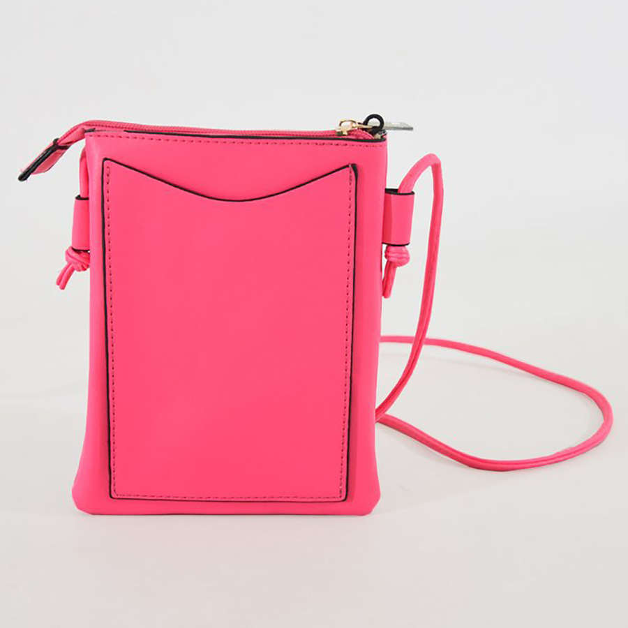 Neon pink crossbody phone purse