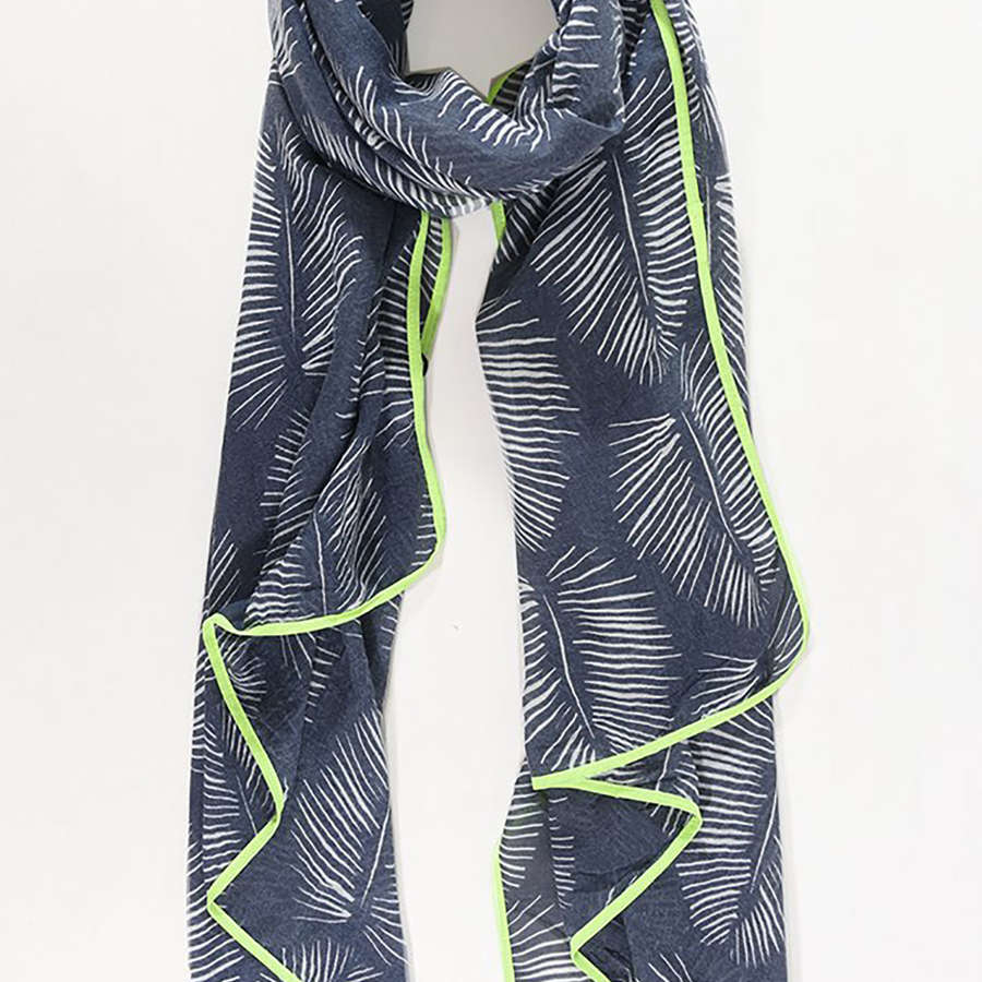 Indigo and neon yellow scarf