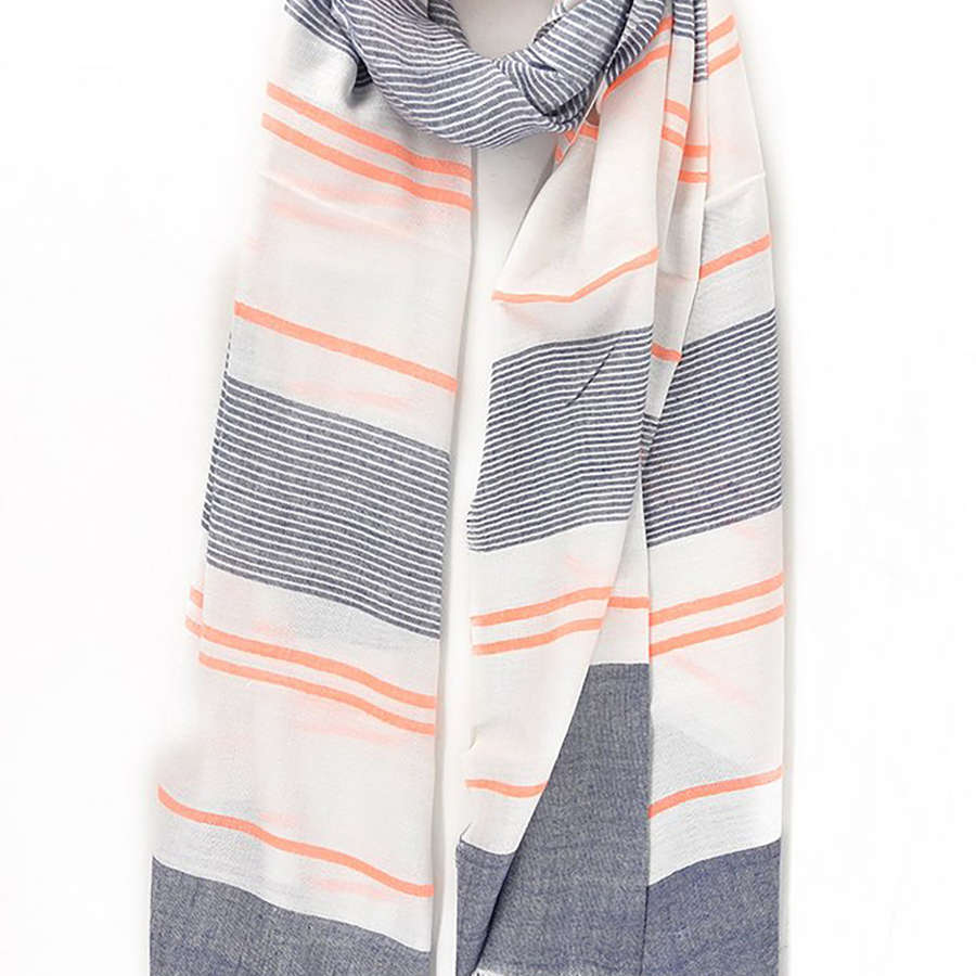 Navy and orange stripe scarf