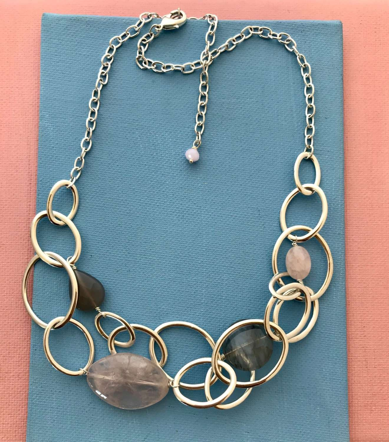 Mandy necklace silver/pale pink and grey