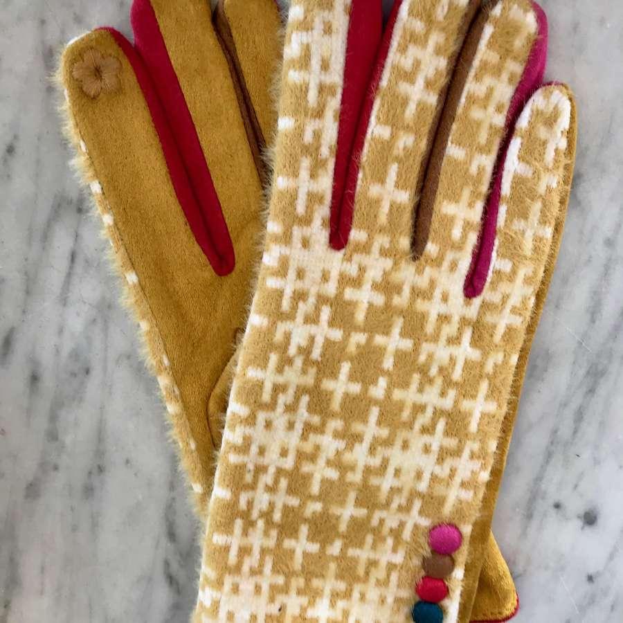 Tartan gloves - yellow