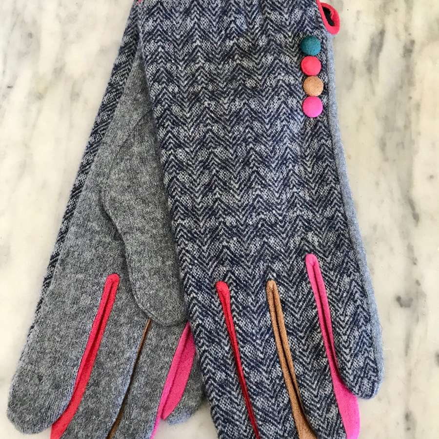 Tartan gloves - navy/grey