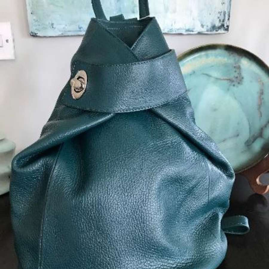 Italian leather rucksack - teal