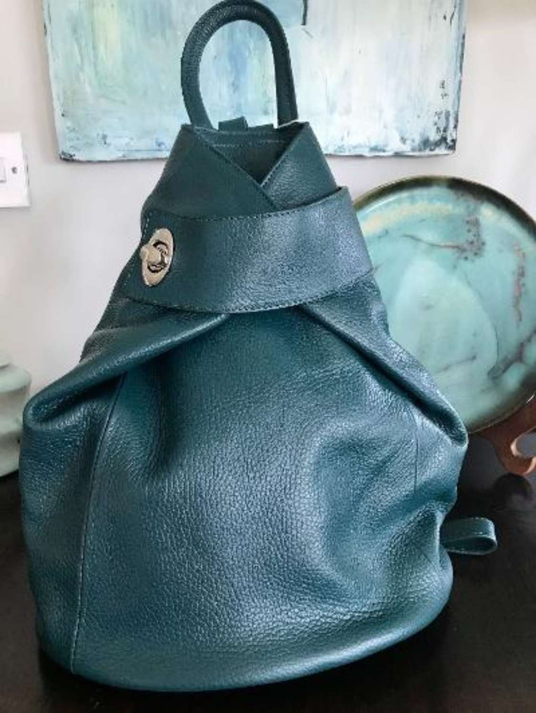 Italian leather rucksack - teal