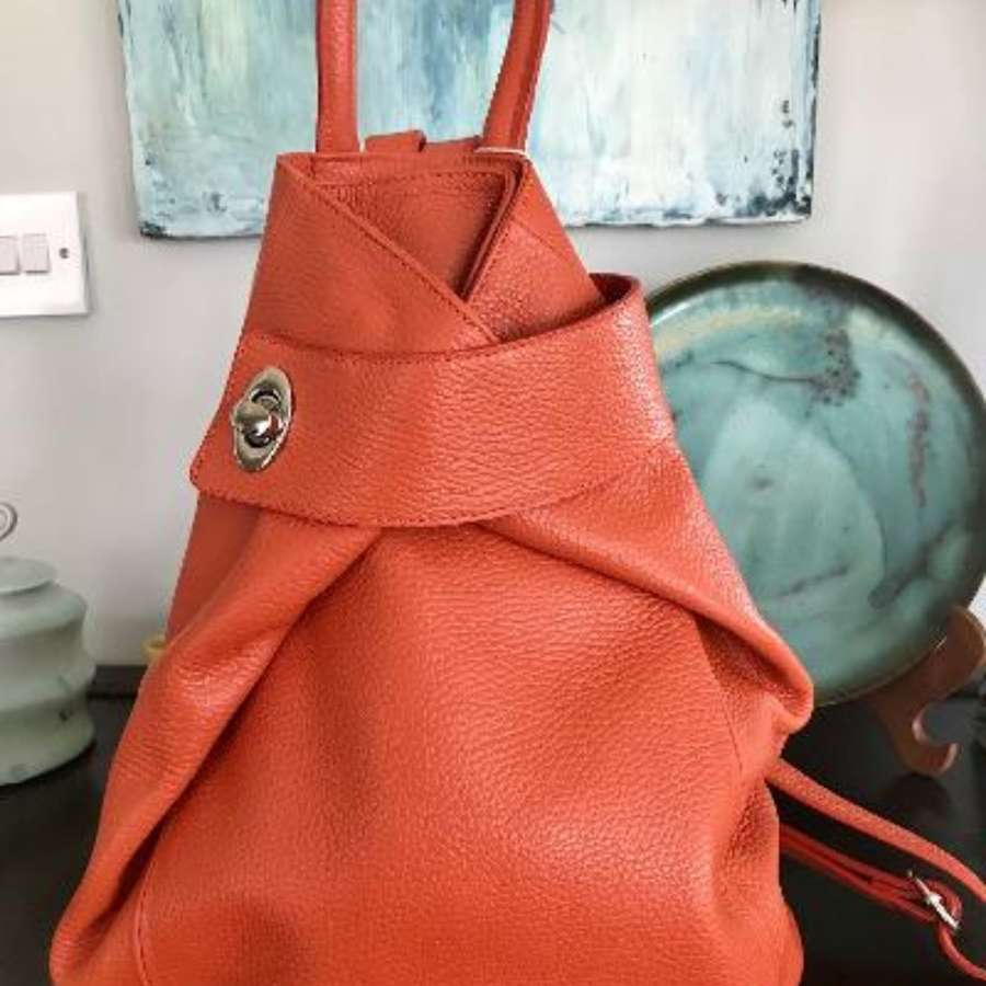 Italian leather rucksack - orange