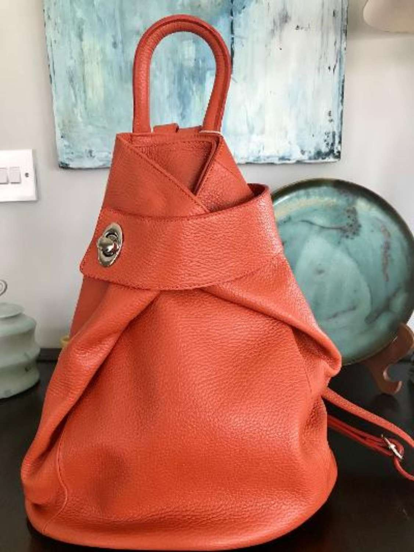 Italian leather rucksack - orange