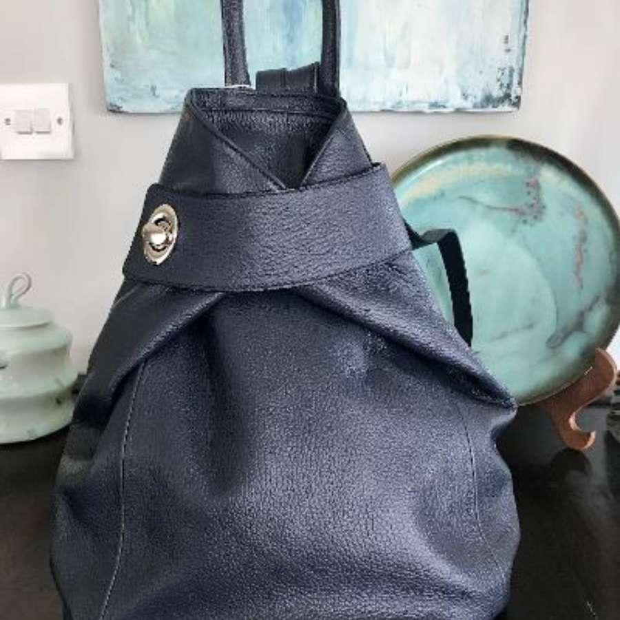 Italian leather rucksack - navy