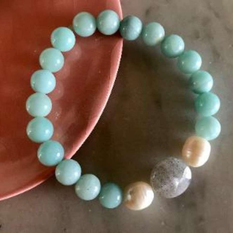 Annie bracelet - duck egg pearl