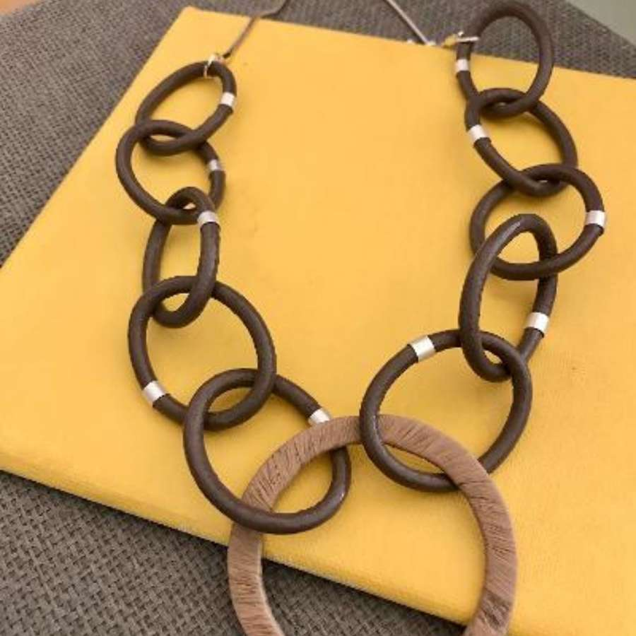 Statement cappuccino circles necklace