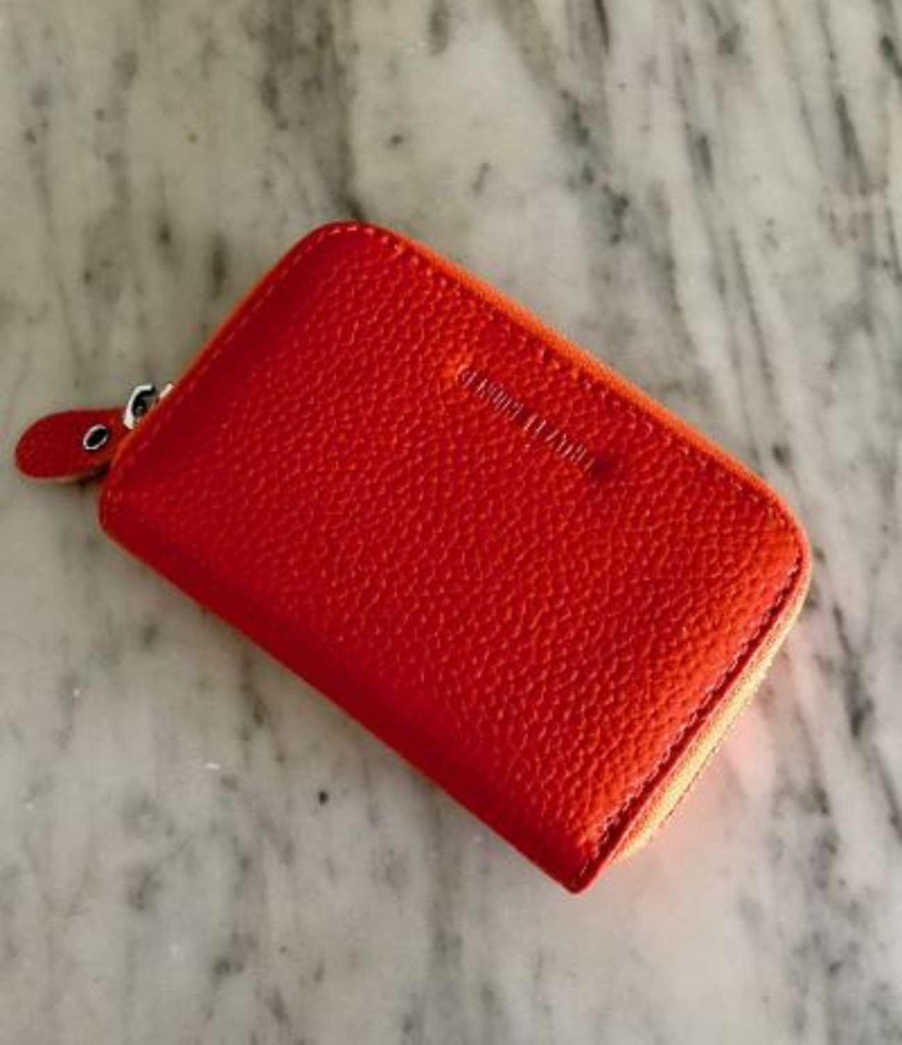 Leather card purse orange