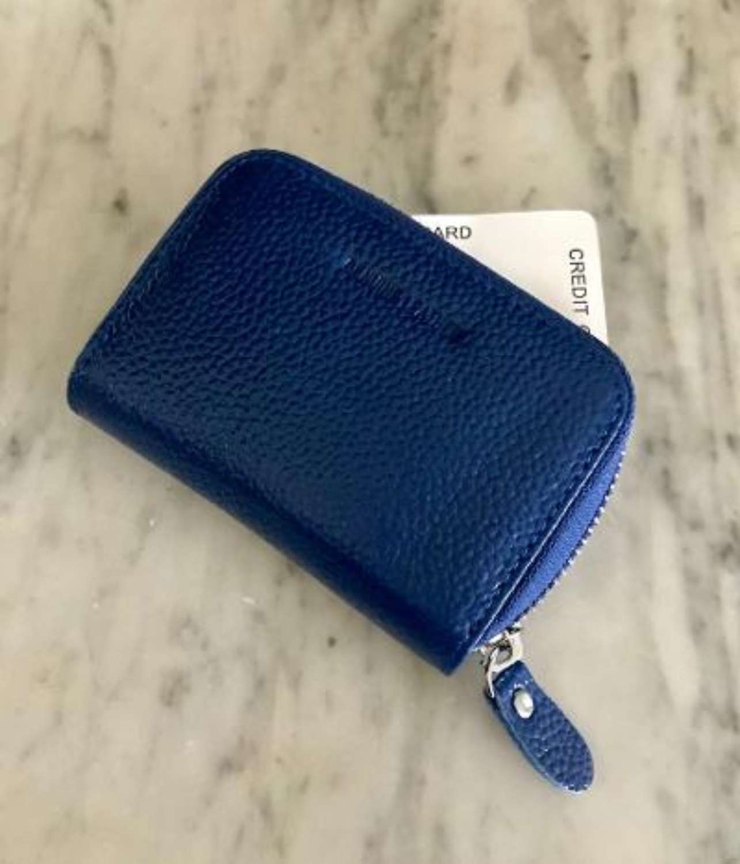 Leather card purse blue
