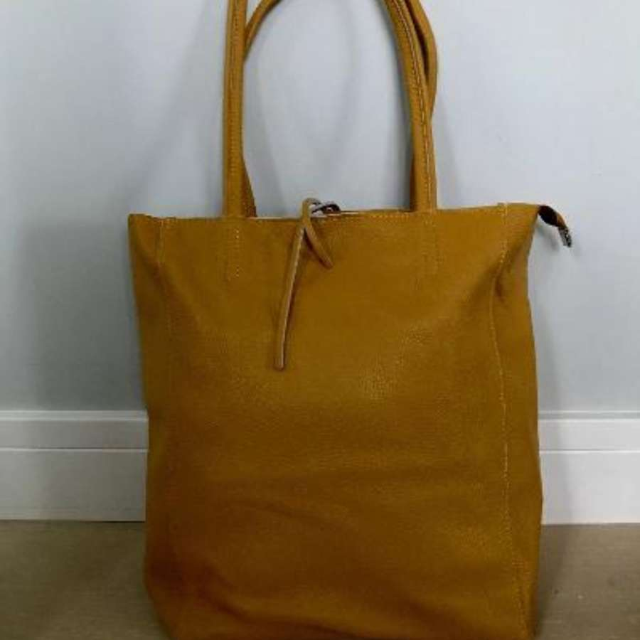 Leather tote bag - mustard