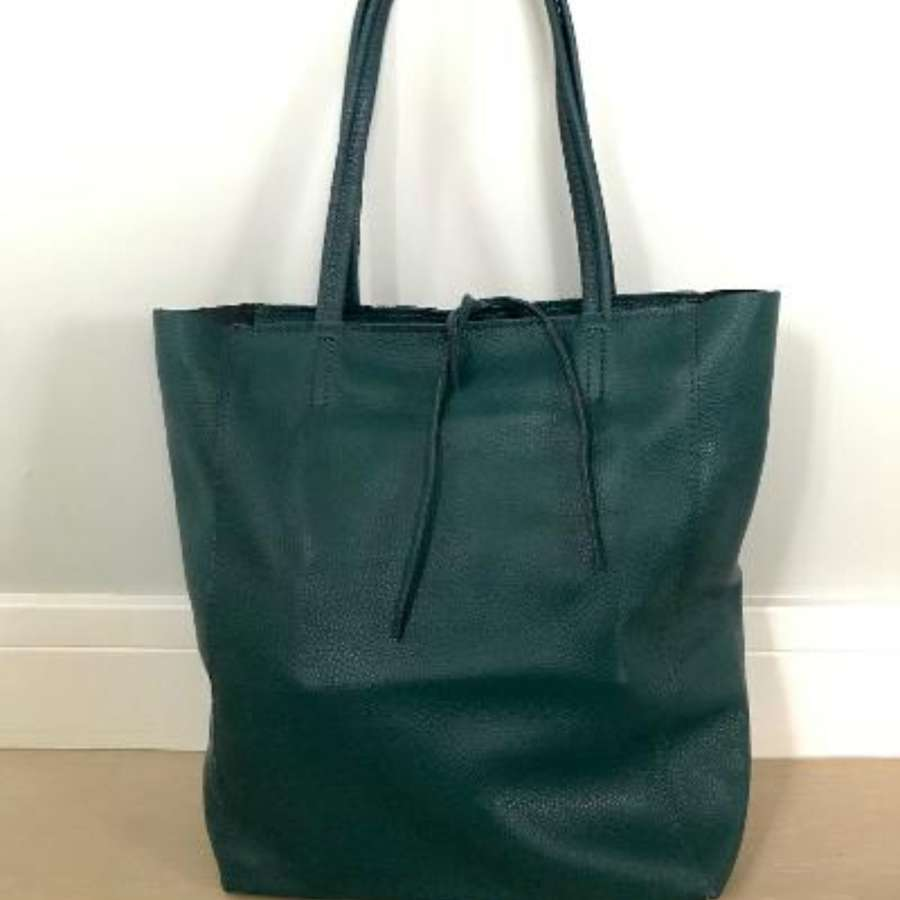 Leather tote bag - teaL