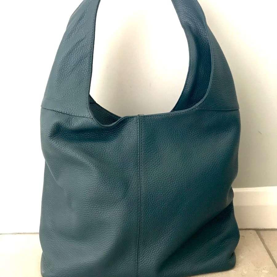 Leather shoulder bag - teal