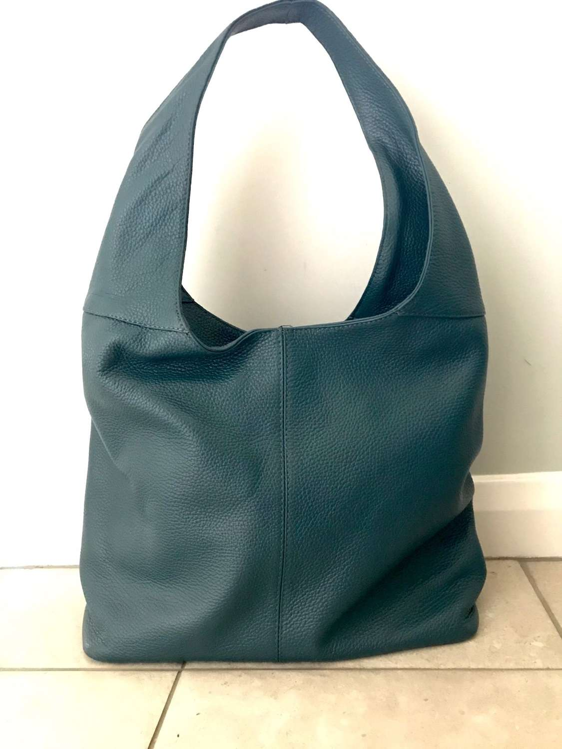 Leather shoulder bag - teal