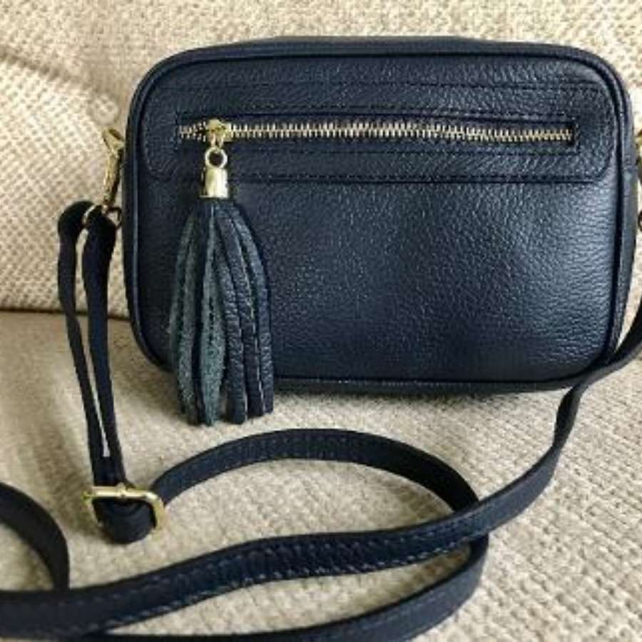 Leather crossbody bag - navy