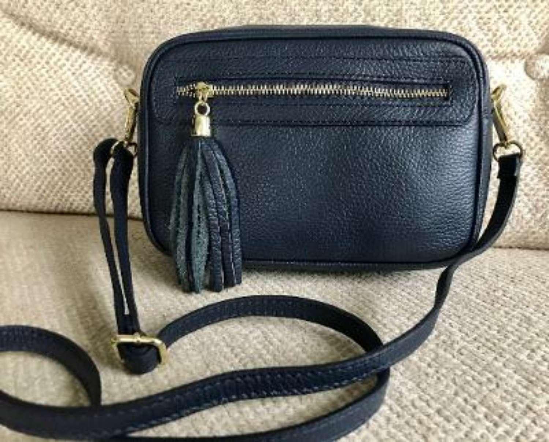 Leather crossbody bag - navy