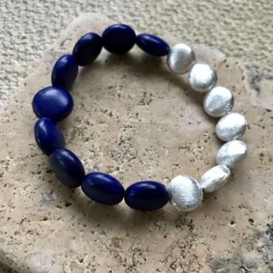 Annie bracelet - navy howlite and silver