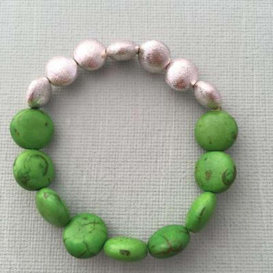 Annie bracelet - green howlite and silver