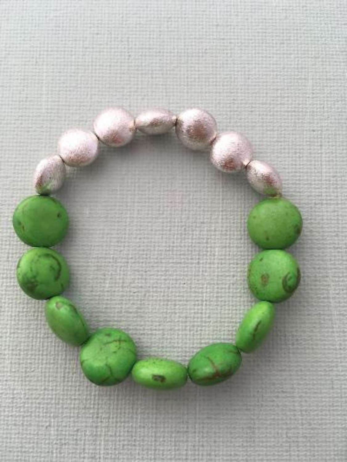 Annie bracelet - green howlite and silver