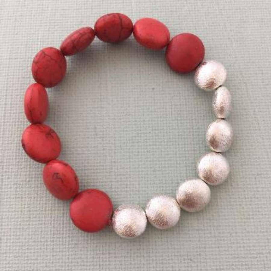 Annie bracelet - red howlite and silver